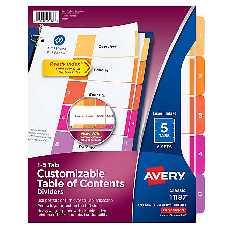 Avery® Ready Index® 20% Recycled Table Of Contents Dividers, 1-5 Tab, Multicolor, Pack Of 6 Sets