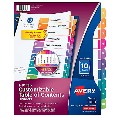 Avery® Ready Index® 20% Recycled Table Of Contents Dividers, 1-10 Tab, Multicolor, Pack Of 6 Sets