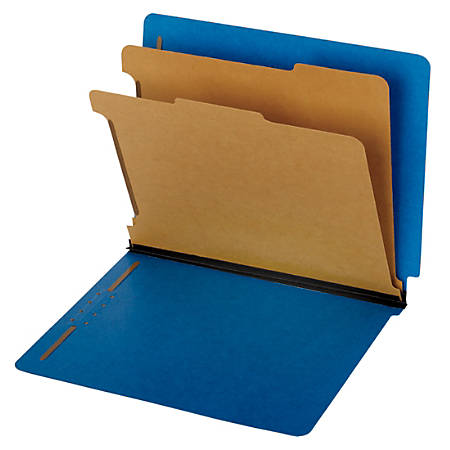 Pendaflex® End-Tab Classification Folders, 60% Recycled, Letter Size, Dark Blue, Box Of 10