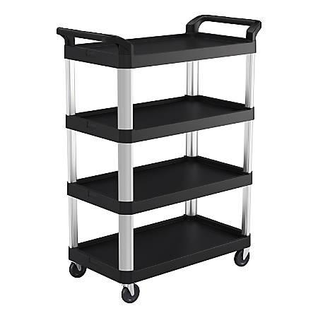 """Suncast Commercial® 3-Shelf Resin Service Cart, 38""""H x 20""""W x 20""""D, Black/Silver"""