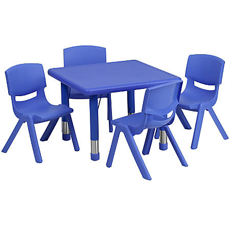 Peachy Flash Furniture 24 Square Plastic Height Adjustable Activity Table With 4 Chairs Blue Item 6535913 Machost Co Dining Chair Design Ideas Machostcouk