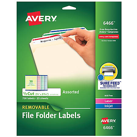 "Avery® Removable File Folder Labels, Laser, 6466, 2/3"" x 3 7/16"", Assorted Colors, Box Of 750"