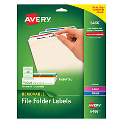 Avery Removable File Folder Labels Laser