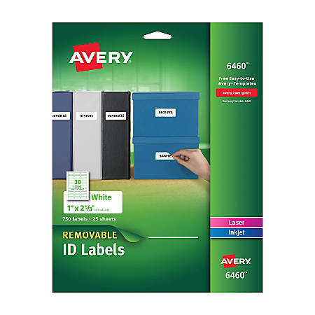 "Avery® Removable Laser/Inkjet ID Labels, 6460, Organization, 1"" x 2 5/8"", White, Pack Of 750"