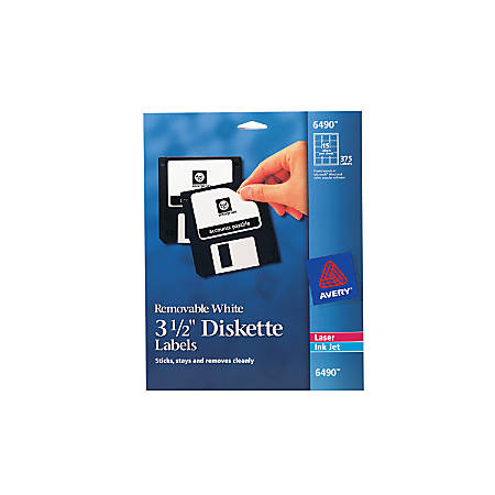 "Avery® Removable Inkjet/Laser Diskette Labels, 6490, 3 1/2"", White, Pack Of 375"