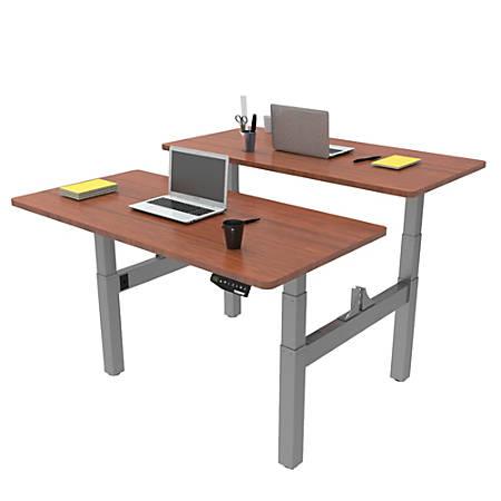 Loctek Height-Adjustable Dual Bench Desk, Mahogany/Silver