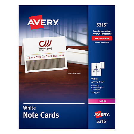 """Avery® Laser Note Cards, 4 1/4"""" x 5 1/2"""", White, Box Of 60"""
