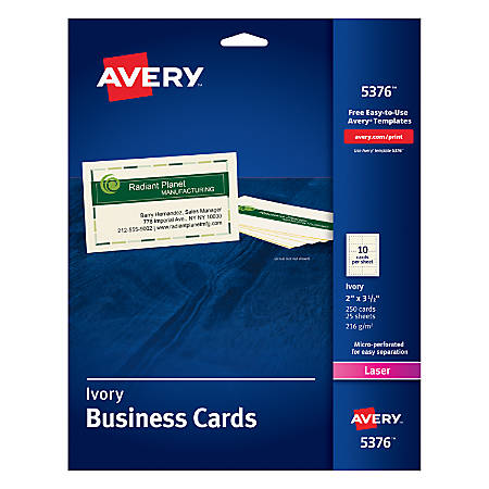 Avery laser microperforated business cards 2 x 3 12 ivory pack of avery laser microperforated business cards 2 reheart