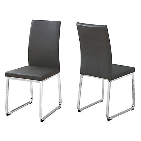 Monarch Specialties Shasha Dining Chairs, Gray/Chrome, Set Of 2 Chairs