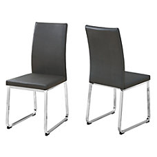 Monarch Specialties Shasha Dining Chairs GrayChrome