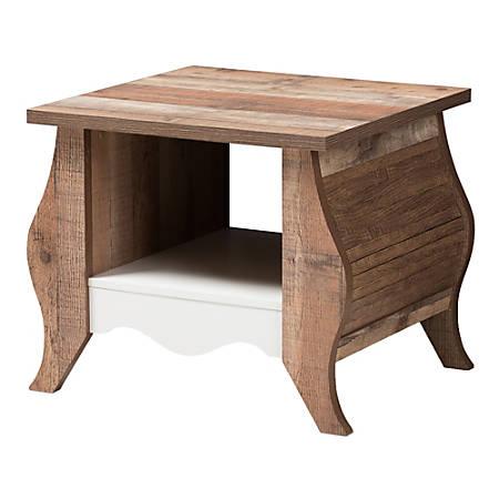 Baxton Studio Elian End Table, Oak/White