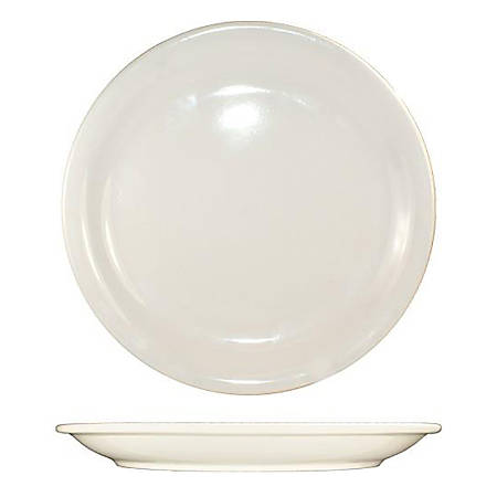 "International Tableware Valencia™ Stoneware Narrow-Rim Plates, Round, 10 1/2"", White, Pack Of 12 Plates"