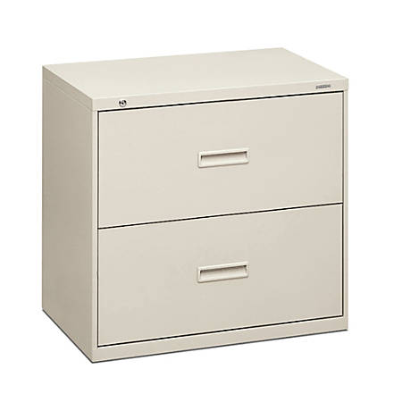 """basyx by HON® 400 Series 30""""-Wide Lateral File, 2 Drawers, 28 3/8""""H x 30""""W x 19 1/4""""D, Light Gray"""