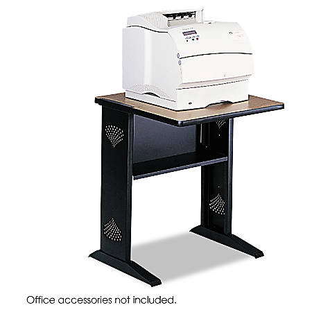 "Safco® Melamine/Steel Fax/Printer Stand, 30""H x 24""W, Black/Mahogany/Medium Oak"