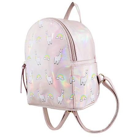 "Office Depot® Brand Mini Backpack, 9""H x 7-1/2""W x 4""D, Llama, Pink"