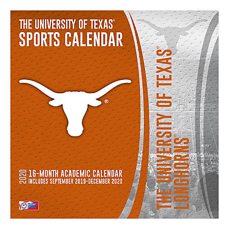 "Turner Licensing NCAA 16-Month Academic Wall Calendar, 12"" x 12"", Texas Longhorns, September 2019 To December 2020, 20998011821"