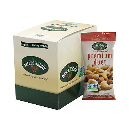 Second Nature Premium Duet Mixed Nuts, 2 Oz, Pack Of 12 Bags