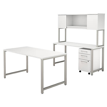 "Bush Business Furniture 400 Series 60""W x 30""D Table Desk with Credenza, Hutch and 3 Drawer Mobile File Cabinet, White, Premium Installation"