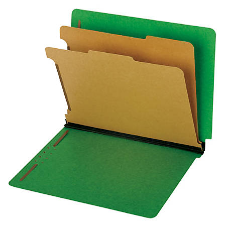 Pendaflex® End Tab Classification Folders, 60% Recycled, Letter Size, Dark Green, Box Of 10