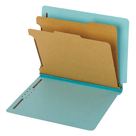 Pendaflex® End Tab Classification Folders, 60% Recycled, Letter Size, Blue, Box Of 10