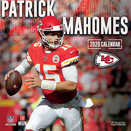"Turner Licensing Monthly Wall Calendar, 12"" x 12"", Patrick Mahomes, 2020"