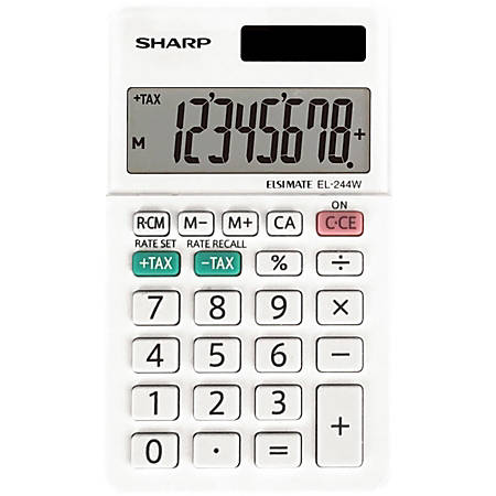 Sharp EL-244WB 8 Digit Professional Pocket Calculator - Extra Large Display, Durable, Plastic Key, Dual Power, 3-Key Memory, Automatic Power Down - 8 Digits - LCD - White - 1 Each