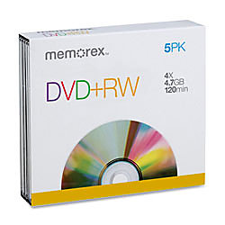 Memorex® DVD+RW Rewritable Media With Slim Jewel Cases, 4.7GB/120 Minutes, Pack Of 5