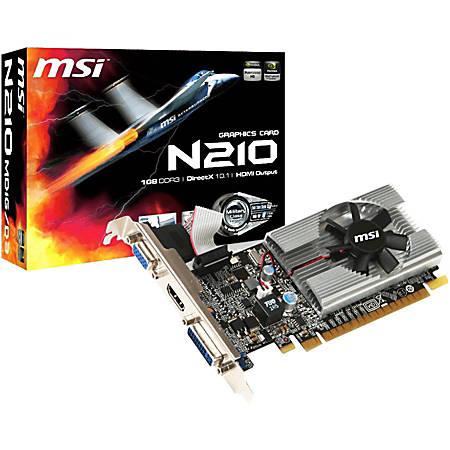 MSI N210-MD1G/D3 GeForce 210 Graphic Card - 1 GB GDDR3 - Low-profile - 2560 x 1600 Maximum Resolution - 589 MHz Core - 64 bit Bus Width - HDMI - VGA - DVI