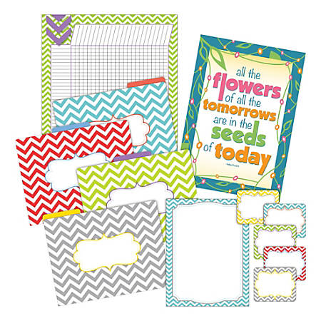 Barker Creek Chevron Office/Classroom Set With Incentive Chart, Beautiful