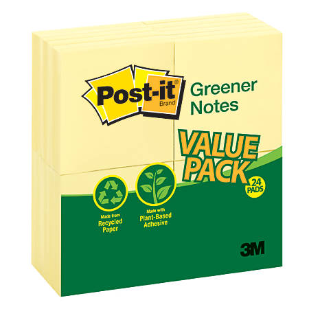 """Post it® Greener Notes, 100% Recycled, 3"""" x 3"""", Canary Yellow, Pack Of 24 Pads"""