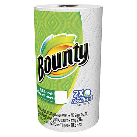 "Bounty® 2-Ply Paper Towels, 11"" x 10 1/5"", White, 40 Sheets Per Roll, Pack Of 30 Rolls"