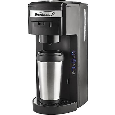 Brentwood TS-114 Single Serve Coffee Maker - 975 W - 1.25 quart - Black, Stainless Steel