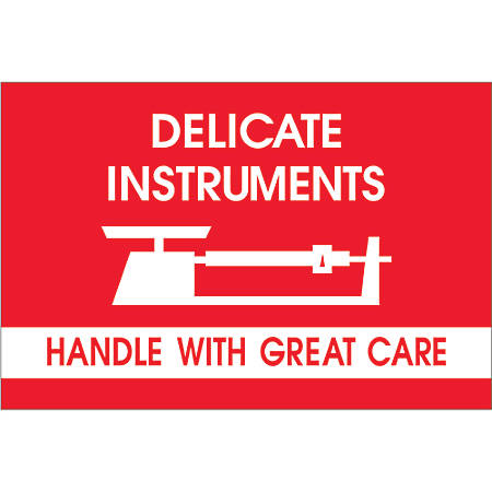 "Tape Logic® Fragile Labels, DL1309, Delicate Instruments - Handle With Great Care, 2"" x 3"", Red/White, Roll Of 500"