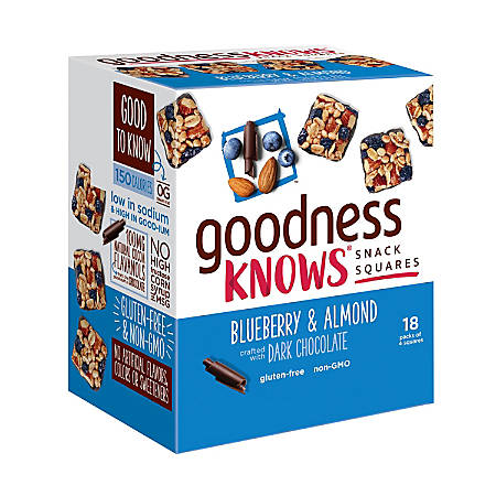 goodnessKNOWS Blueberry, Almond And Dark Chocolate Gluten-Free Snack Square Bars, Box Of 18 Bars