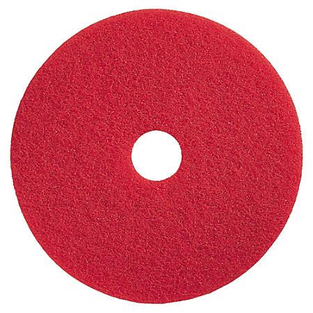 """Genuine Joe Floor Pads, Flexible Buffing, 13"""", Red, Pack Of 5"""