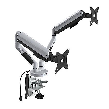 """Loctek Q7 Monitor Arm, Dual, 15 13/16""""H x 12 13/16""""W x 5 13/16""""D, White"""