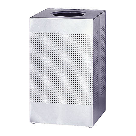 "United Receptacle 30% Recycled Hinged Top Receptacle, 29 Gallons, 30"" x 18 3/4"", Stainless Steel"