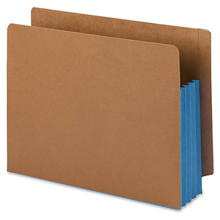"""Smead® Extra-Wide Expansion End-Tab File Pockets, 12""""W Body, Letter Size, 30% Recycled, Blue, Box Of 10"""
