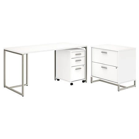 """kathy ireland® Office by Bush Business Furniture Method Table Desk with File Cabinets, 60""""W, White, Standard Delivery"""