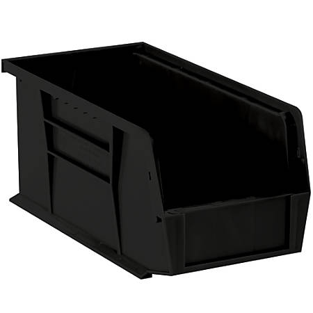 "Office Depot® Brand Plastic Stack And Hang Bin Boxes, 14 3/4"" x 8 1/4"" x 7"", Black, Pack Of 12"