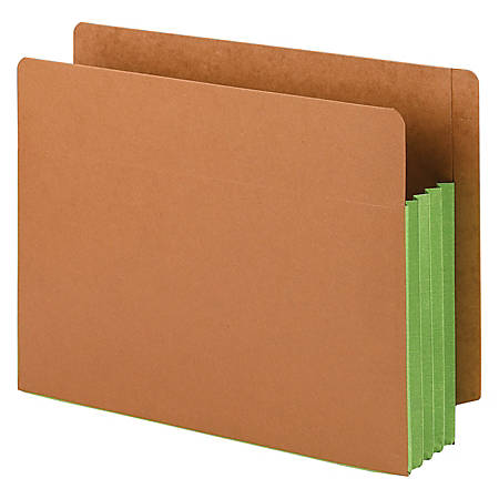 """Smead® Extra-Wide Expansion End-Tab File Pockets, 12""""W Body, Letter Size, 30% Recycled, Green, Box Of 10"""
