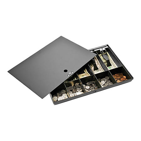 """Sparco Money Tray With Locking Cover, 2.3"""" x 16"""" x 11"""", Black"""