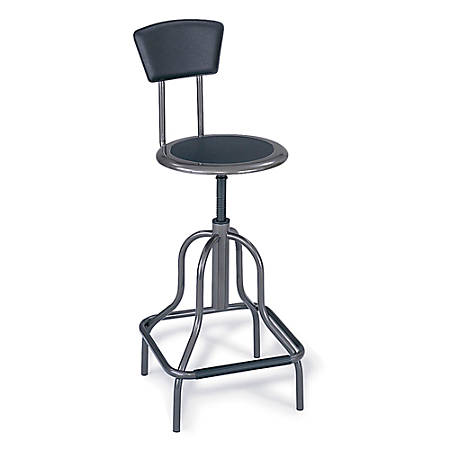 "Safco® Diesel Series High-Base Stool With Back, 36 to 41""H x 16 1/2""W x 16 1/2""D, Pewter Frame, Pewter Fabric"