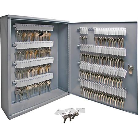 "Sparco 160-Key Locking Hook-Style All-Steel Key Cabinet, 20 1/8"" x 16 1/2"" x 4 7/8"", Gray"