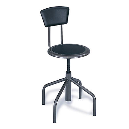 Safco® Diesel Series Low-Base Stool With Back, Pewter Frame, Pewter Fabric