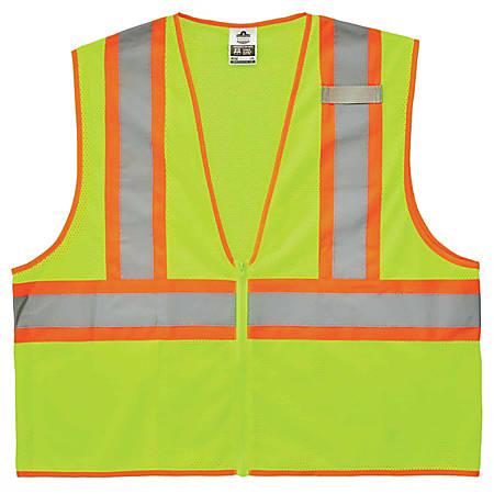 Ergodyne GloWear Safety Vest, Economy 2-Tone, Type-R Class 2, 4X/5X, Lime, 8229Z