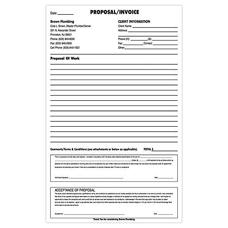 "Custom Carbonless Business Forms, Create Your Own, Blue or Black Ink, 8-1/2"" x 14"", 3-Part, Pack of, Box Of 250"