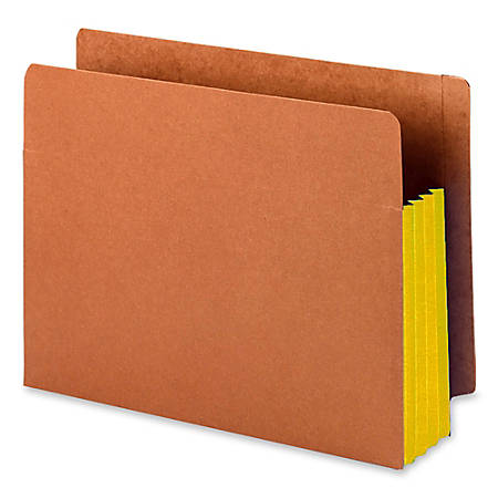 "Smead® Redrope End-Tab File Pockets With Gussets, Letter Size, 3 1/2"" Expansion, 30% Recycled, Yellow Gusset, Box Of 10"