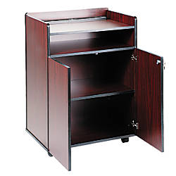 Safco Executive Mobile Presentation Stand Mahogany