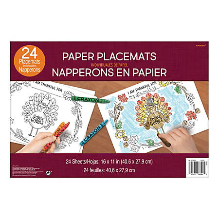 """Amscan Thanksgiving Coloring Placemats, 11"""" x 16"""", 4 Per Pack, Carton Of 24 Packs"""